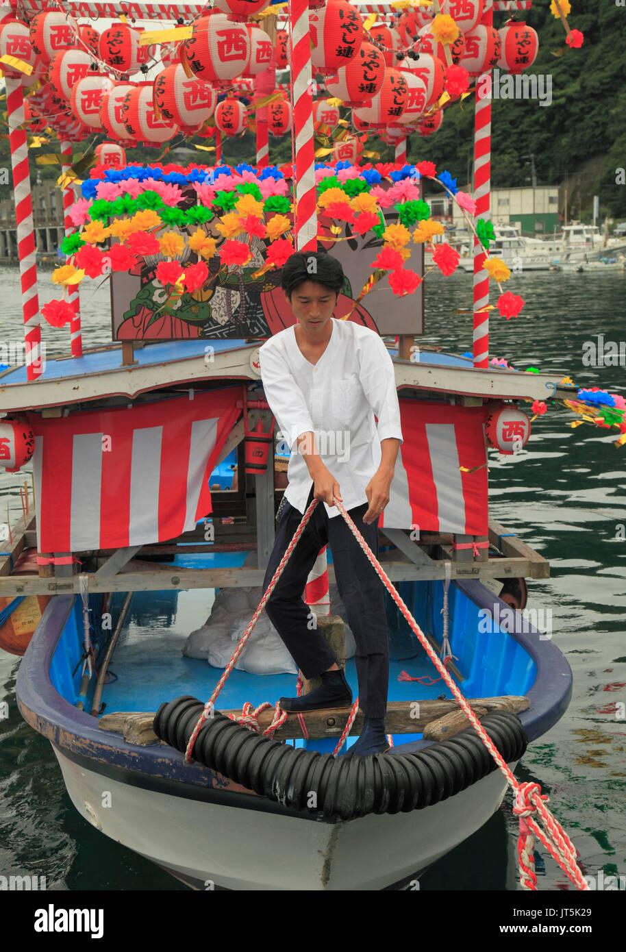 Japan, Manazuru, Kibune Matsuri, festival, boat, people, - Stock Image