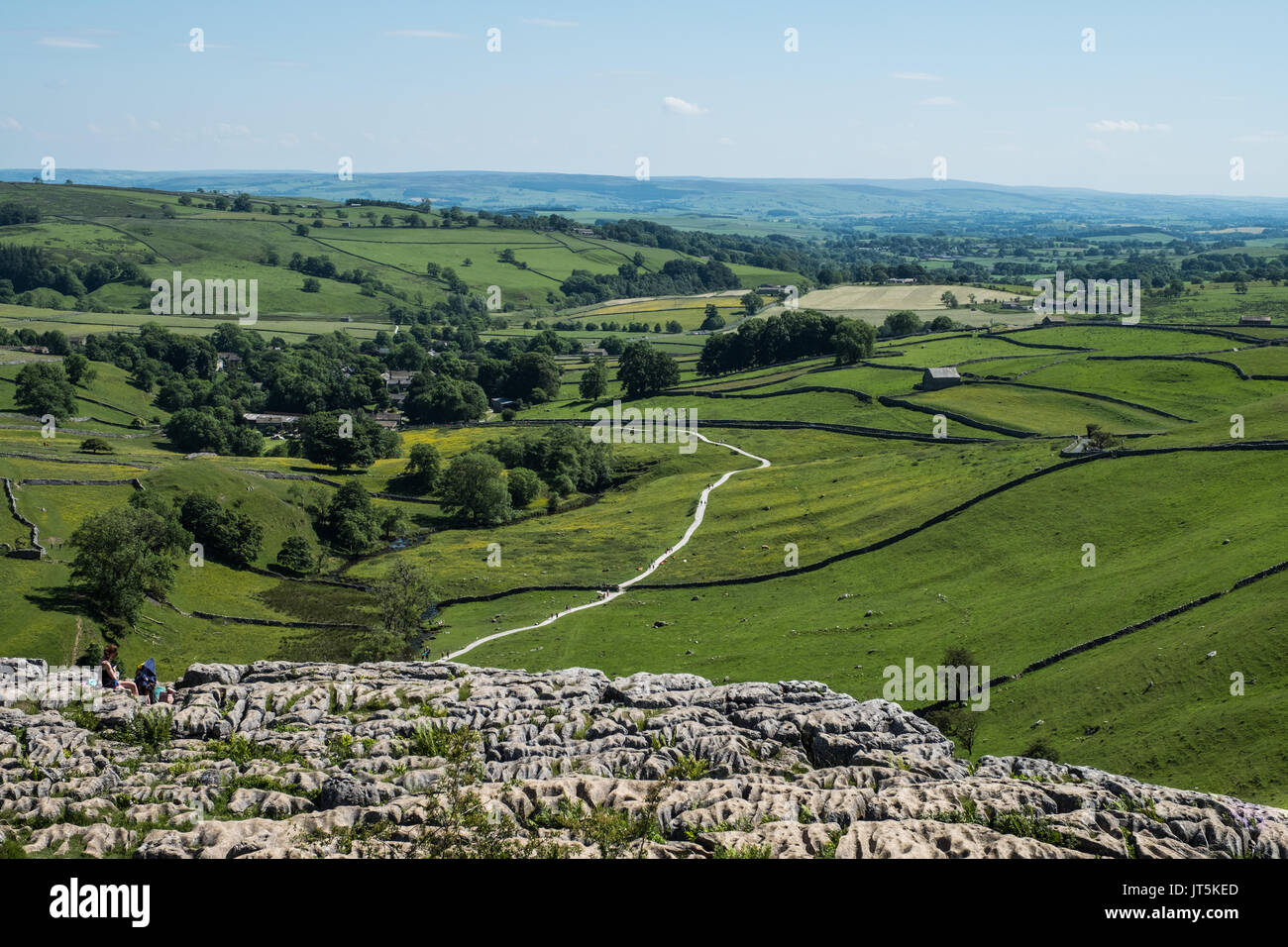 The Exposed Limestone Pavement at Malham Cove. - Stock Image