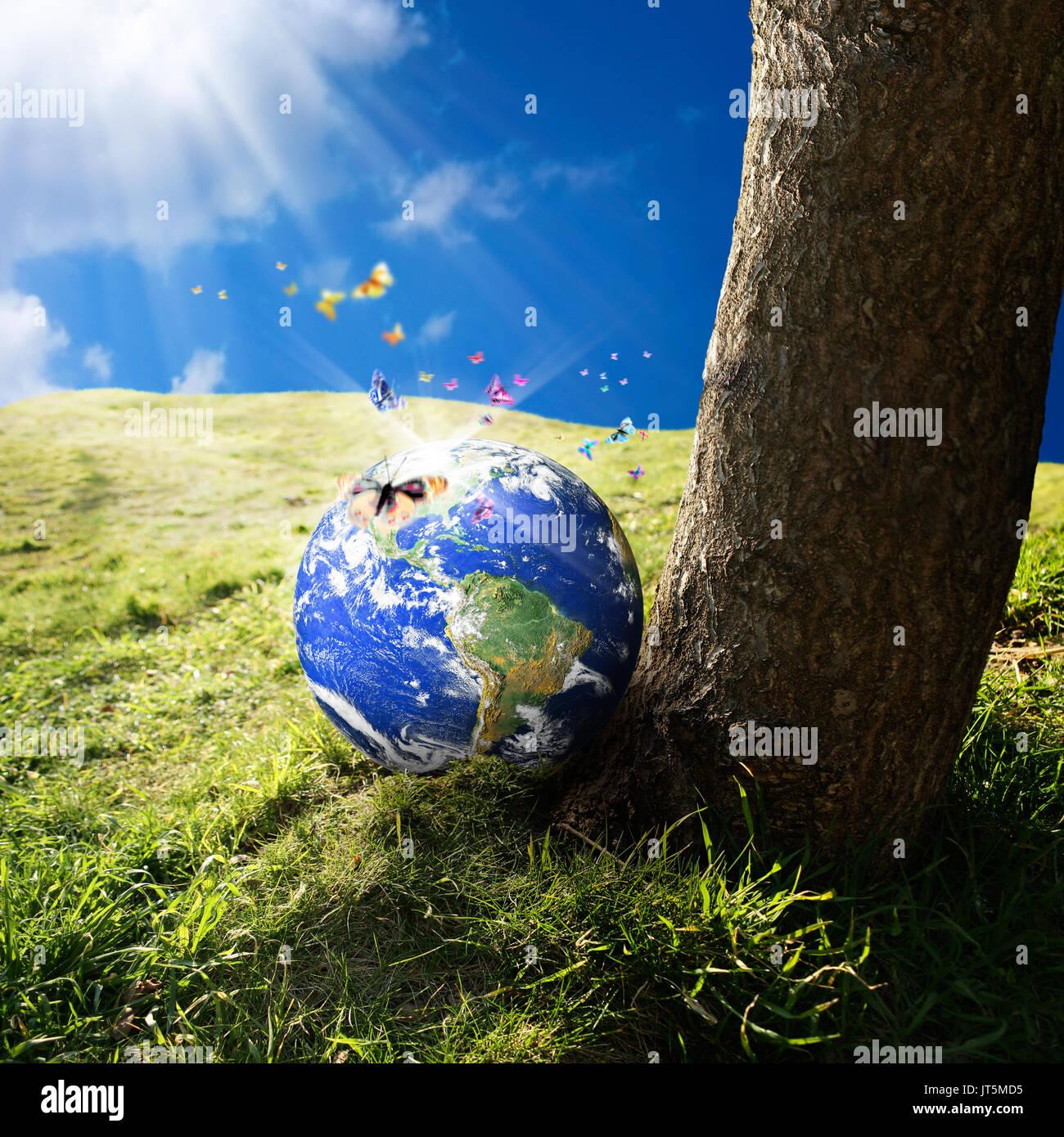 conceptual image of world on green landscape  NASA world map image