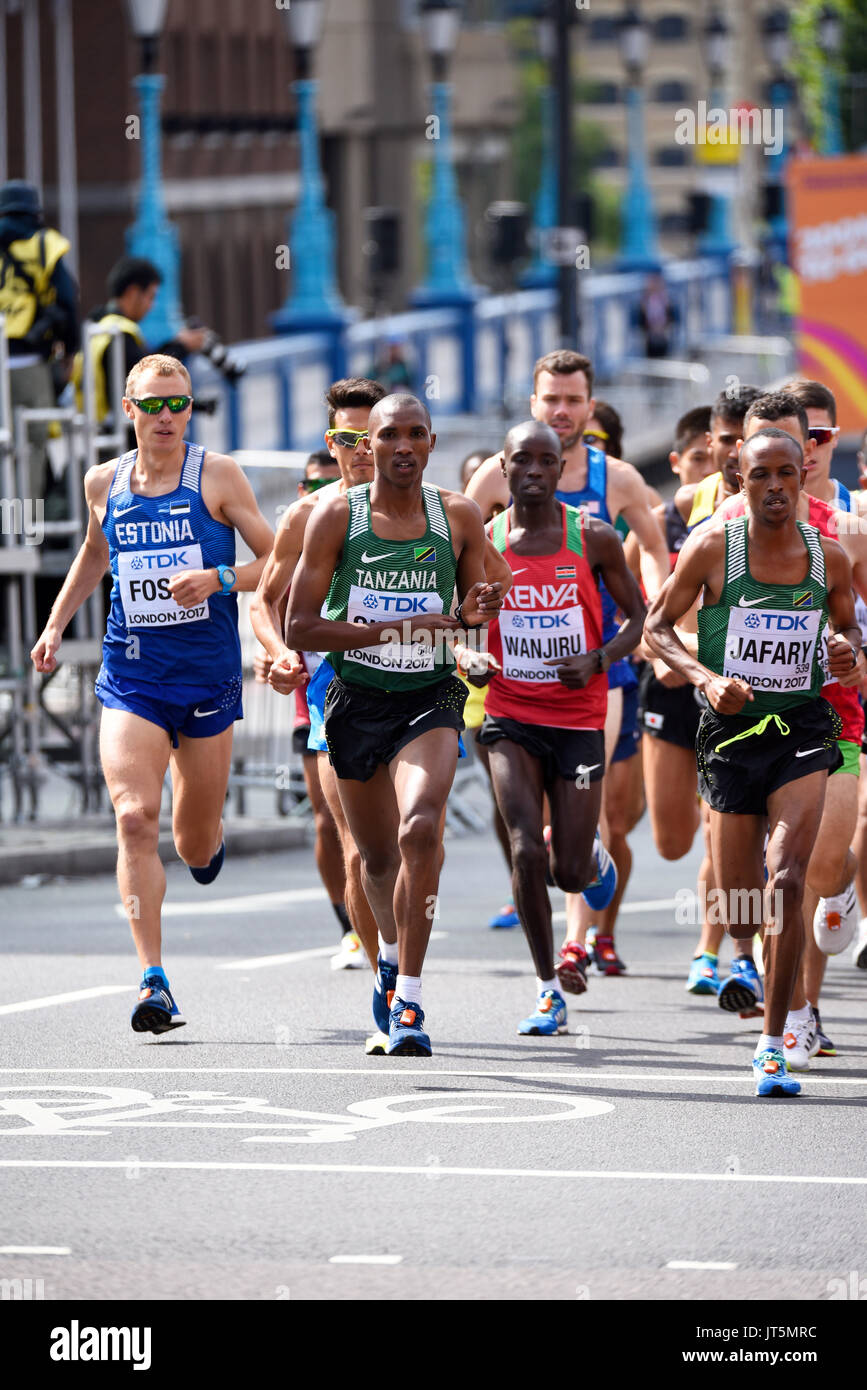 Athletes running in the IAAF World Championships 2017 Men's Marathon race in London, UK. Space for copy - Stock Image