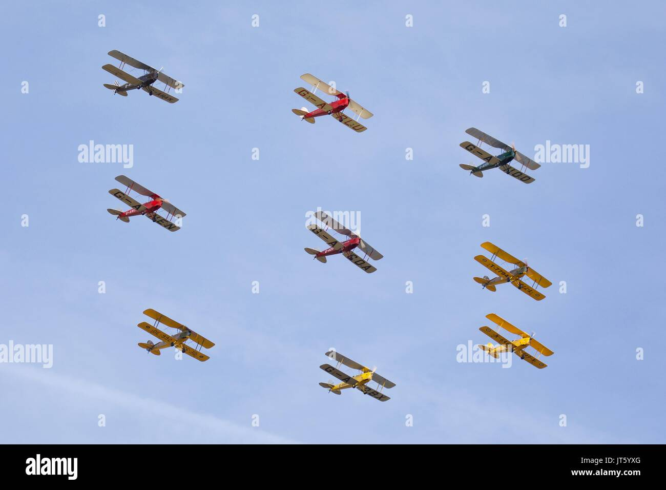 Tiger 9 Aeronautical Display Team flying at Shuttleworth in Box formation - Stock Image