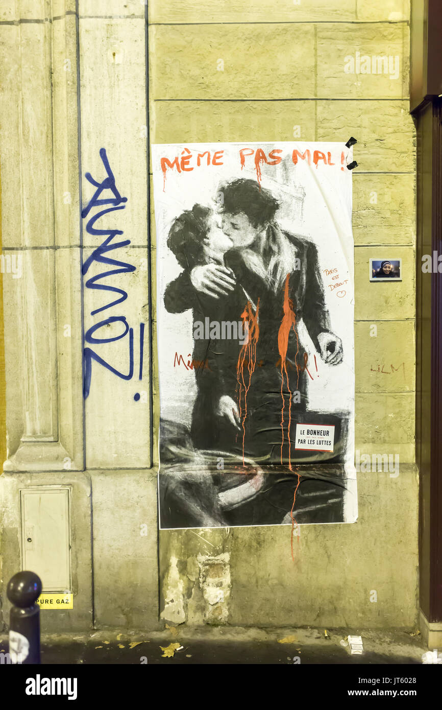 blood on the baiser de doisneau, that didn't even hurt . Homage at the victims of the terrorist attacks in Paris the 13th of november 2015. - Stock Image