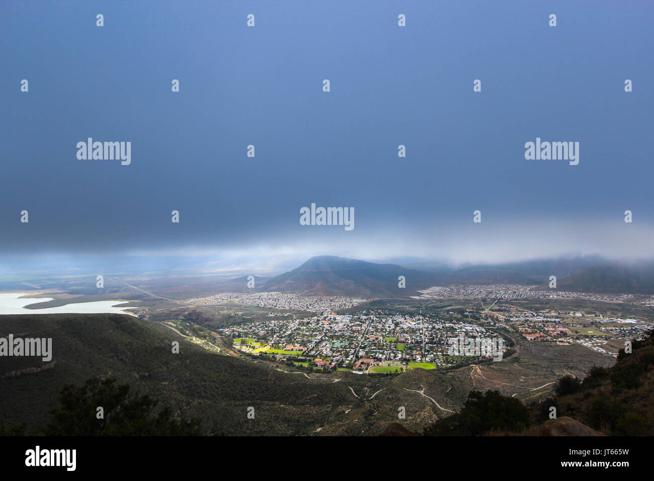 Valley of Desolation viewpoint, view of the city of Graaff Reinet during a storm, South Africa - Stock Image
