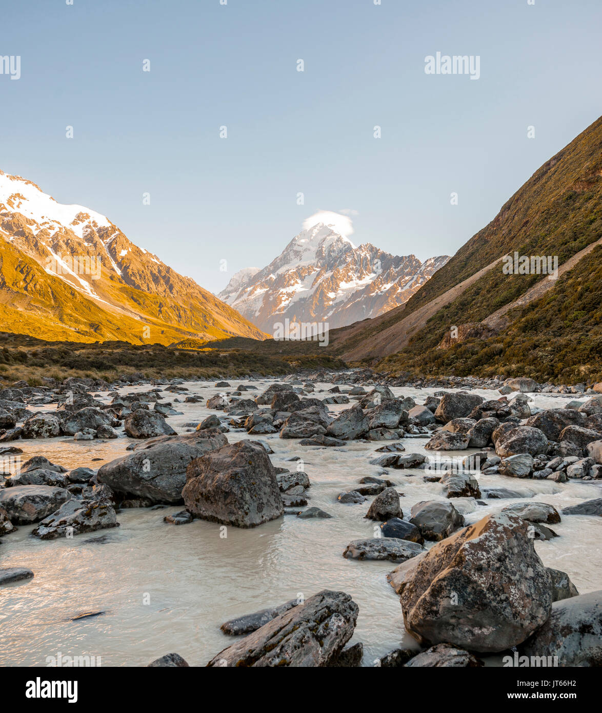 Sunrise, Hooker River, Mount Cook, Mount Cook National Park, Southern Alps, Hooker Valley, Canterbury, South Island, New Zealand Stock Photo