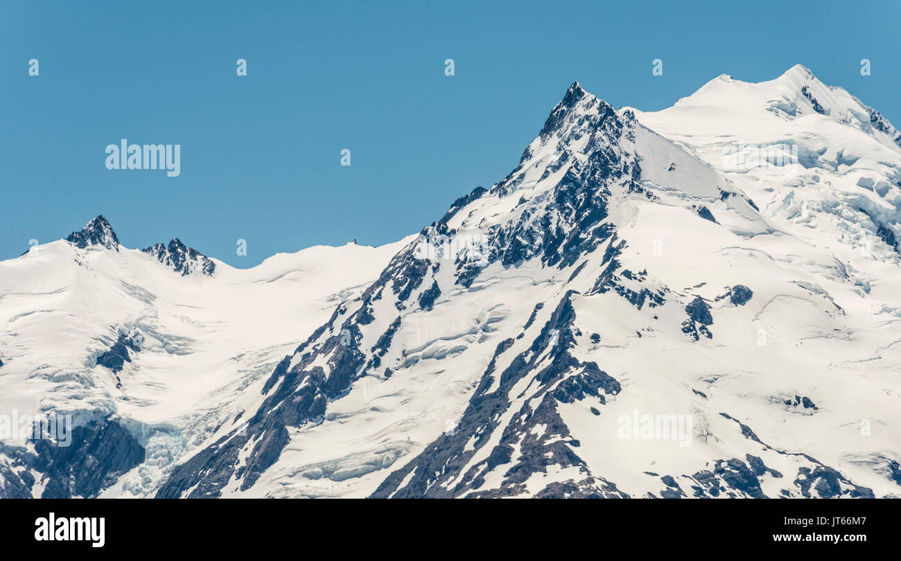 Glacier of Mount Cook, Snowy Mountain, Mount Cook National Park, Southern Alps, Canterbury, South Island, New Zealand - Stock Image