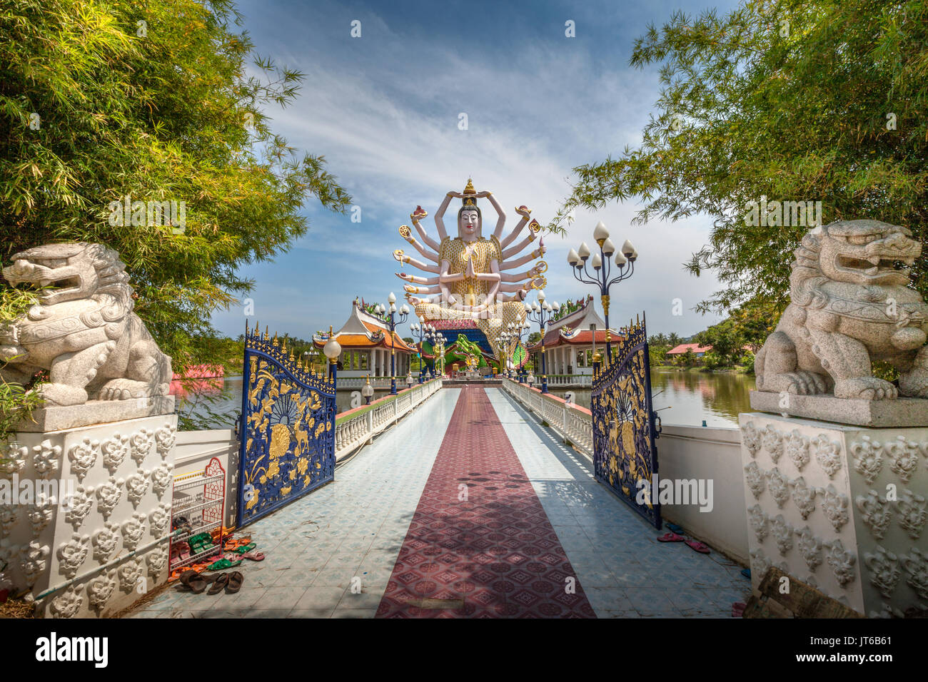 Statue of eighteen arms of Guanyin Avalokiteśvara or Guanjin Kwan Yin, Goddess of Mercy and Compassion, Wat Plai Laem Temple, Koh Samui, Thailand - Stock Image