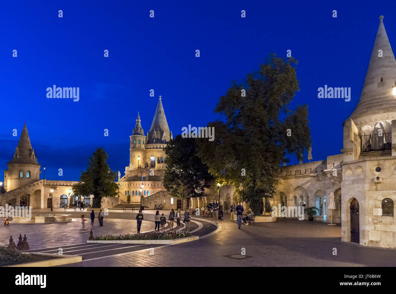 Fishermen's Bastion at night, Buda Castle district, Castle Hill, Budapest, Hungary - Stock Image