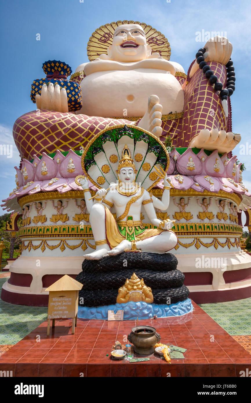 Giant statue of Big Happy Buddha, Wat Plai Laem Temple, Suwannaram Ban Bo Phut, Koh Samui, Thailand - Stock Image