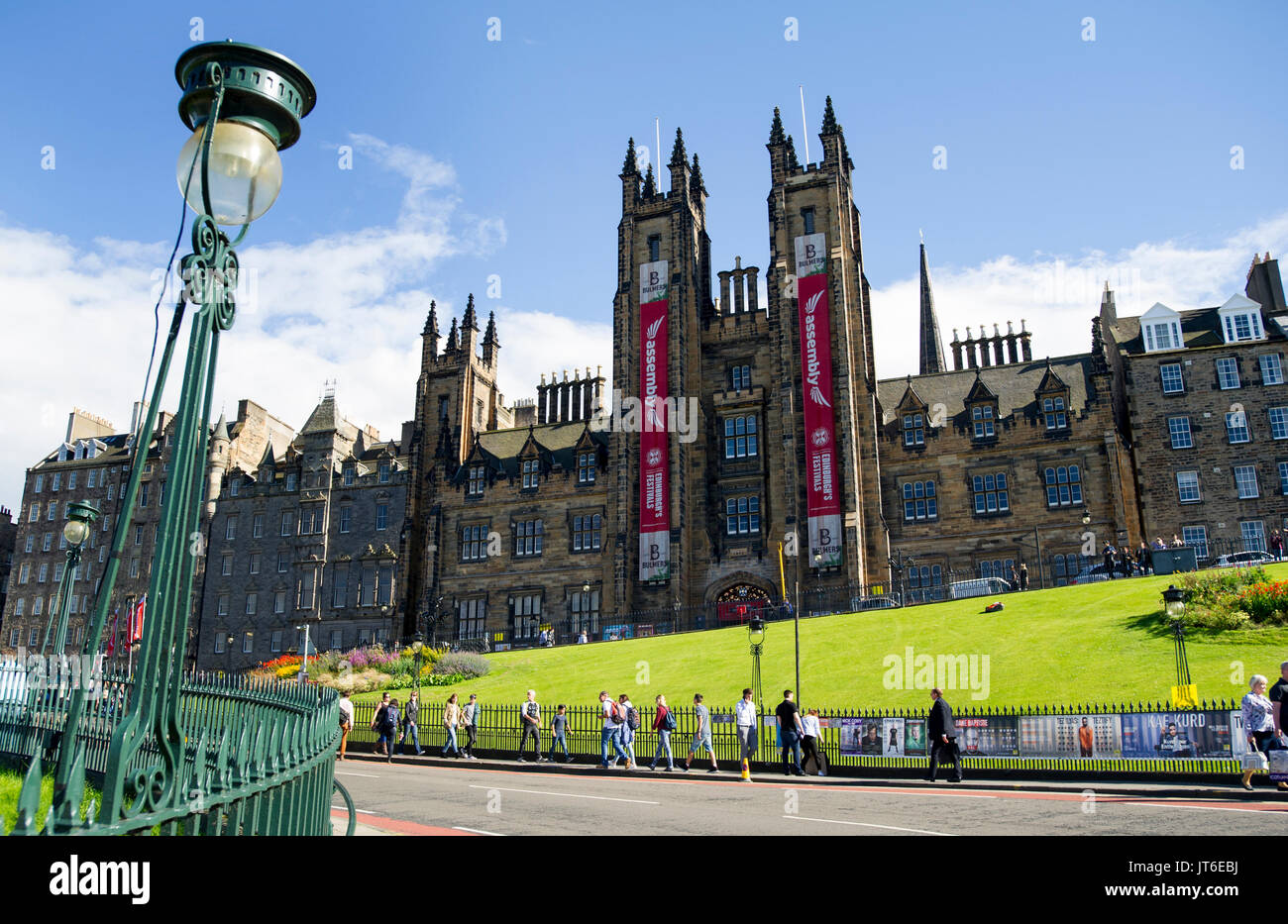 General Assembly Hall & New College, Faculty of Divinity, Edinburgh University, The Mound, Edinburgh, Scotland, UK - Stock Image
