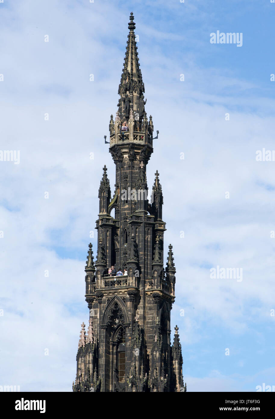 The top of Scott Monument in Edinburgh city centre. The Scott Monument is a Victorian Gothic monument to Scottish author Sir Walter Scott. Stock Photo