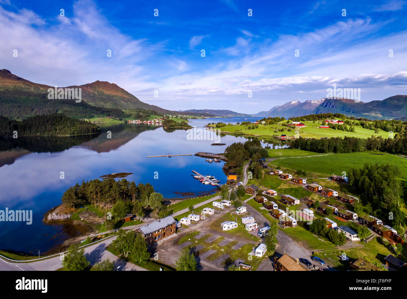 Beautiful Nature Norway natural landscape. Aerial view of the campsite to relax. Family vacation travel, holiday Stock Photo