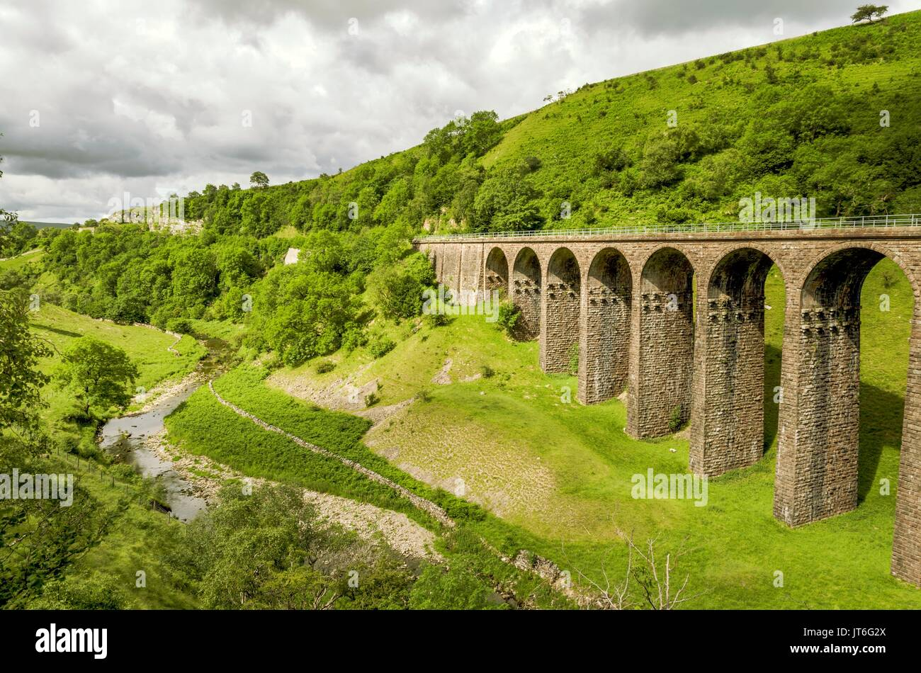 Oblique view of a disused railway viaduct in Smardale. - Stock Image
