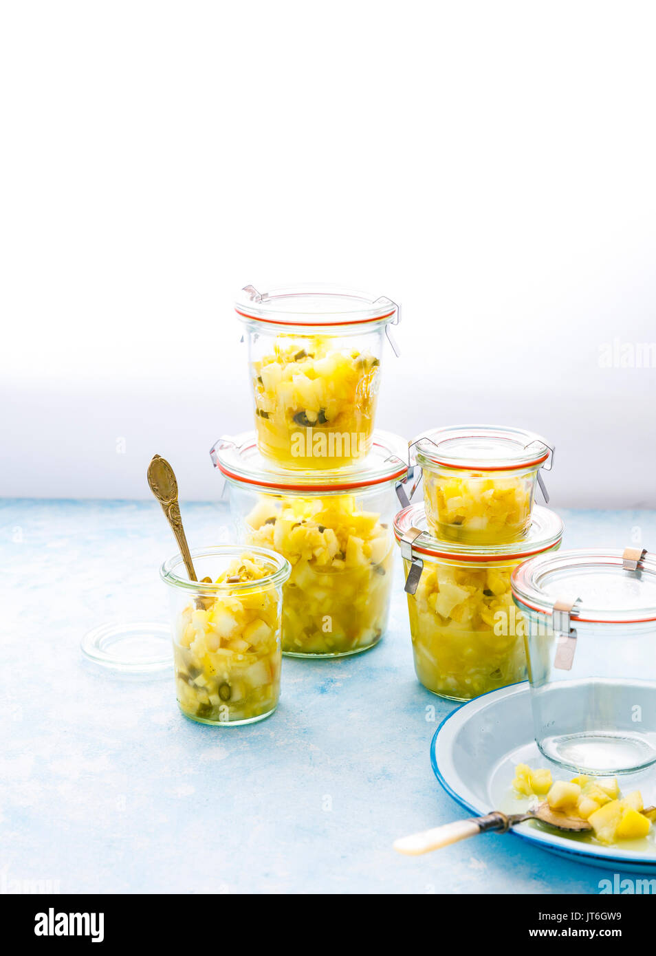 Instant Lemon Pickle  made with Lemon, Ginger, Green Chillies and Salt - Stock Image