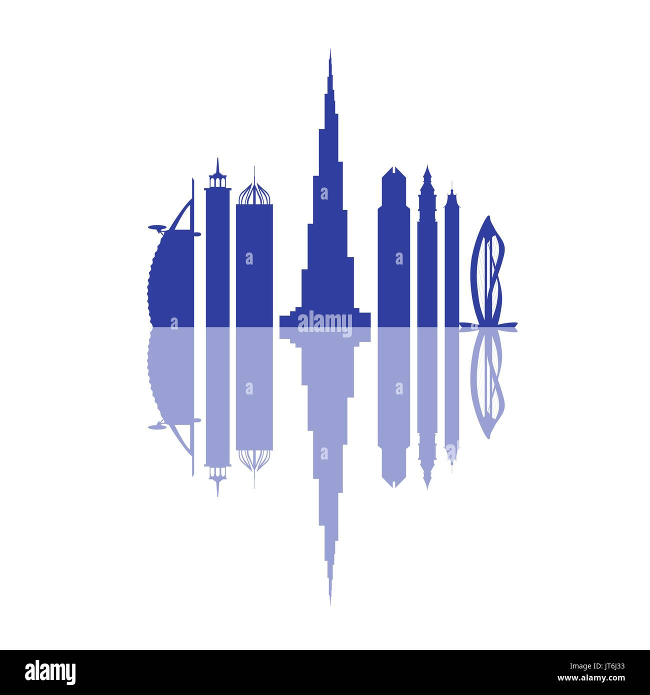 Vector illustration of United Arab Emirates skyscrapers silhouette. Dubai buildings and symbol. Design for banner, poster or print. - Stock Image
