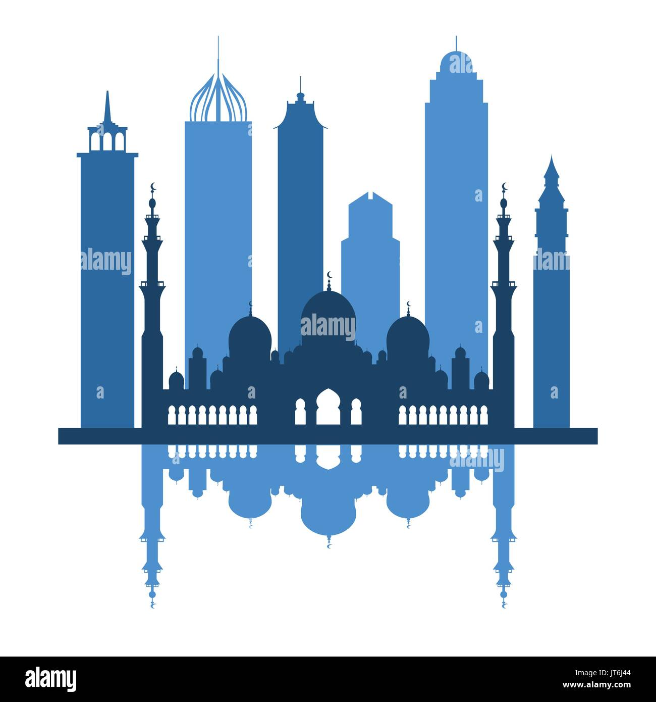 Vector illustration of United Arab Emirates skyscrapers silhouette. Dubai and Abu dhabi buildings. Design for banner, poster or print. - Stock Image