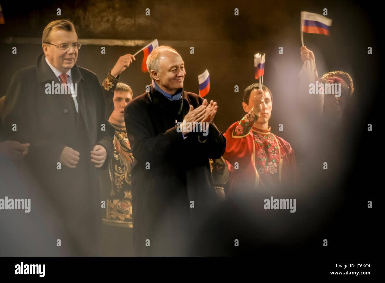 Ken Livingstone MP (C) and Yury Fedotov (L) the Russian Ambassador to Great Britain, attend the 4th Annual Russian Winter Festival in Trafalgar Square, London, UK. - Stock Image