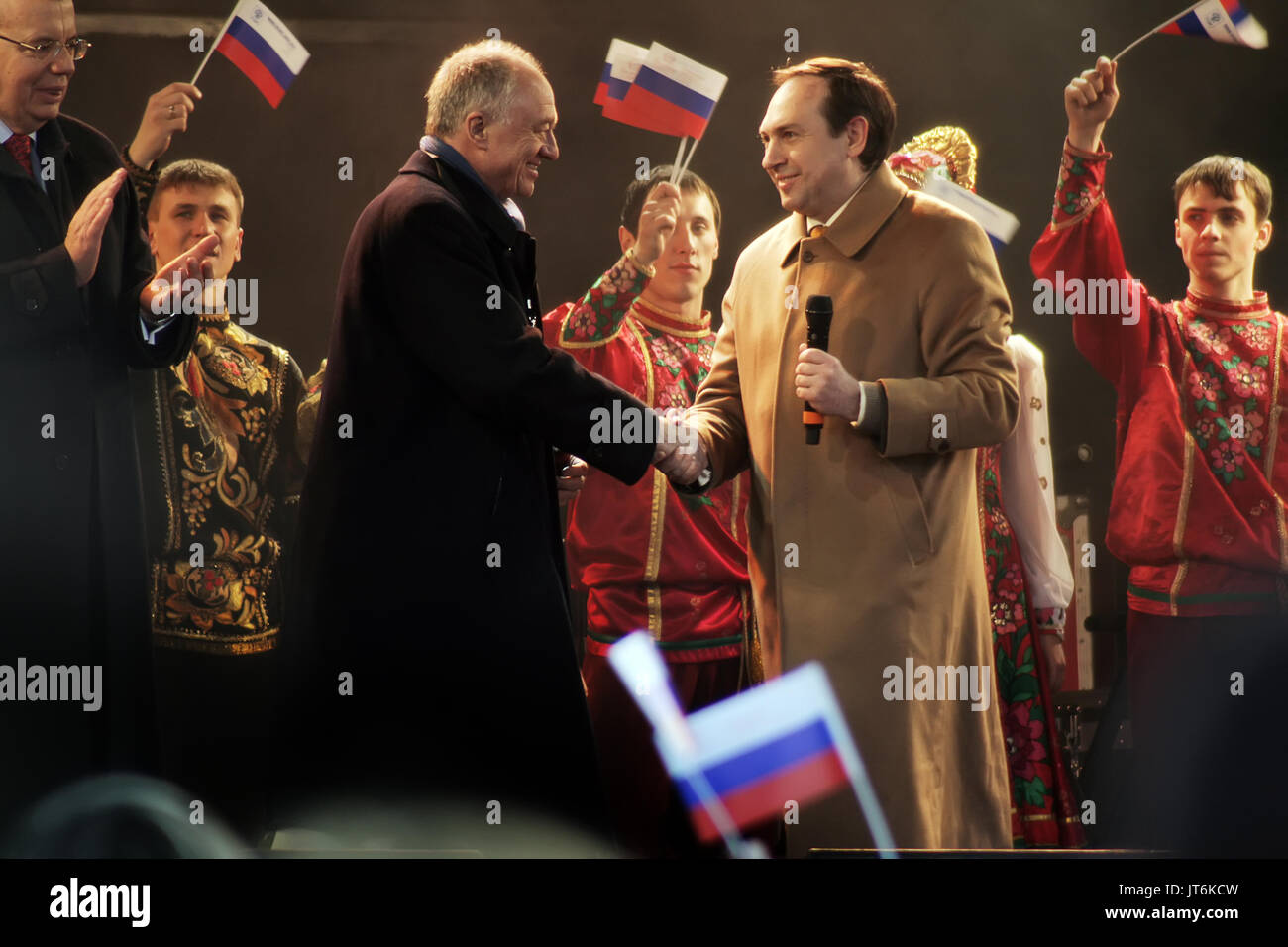 Ken Livingstone MP (L) greets Vyaceslav Nikonov (R), General Director of Russkiy Mir at the 4th Annual Russian Winter Festival in Trafalgar Square, London, UK. - Stock Image