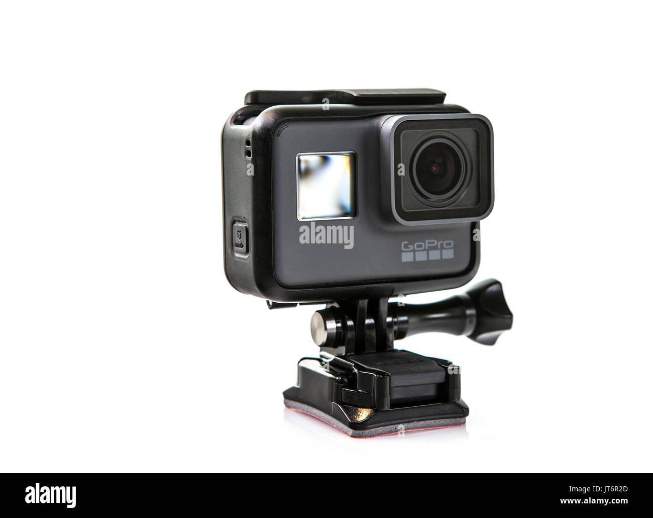 SWINDON, UK - AUGUST 8, 2017: GoPro Hero 5 Black Action Camera on a White Background - Stock Image