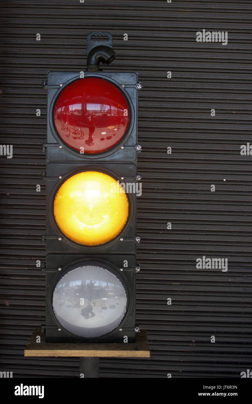 Stoplight - Orange Light - Stock Image