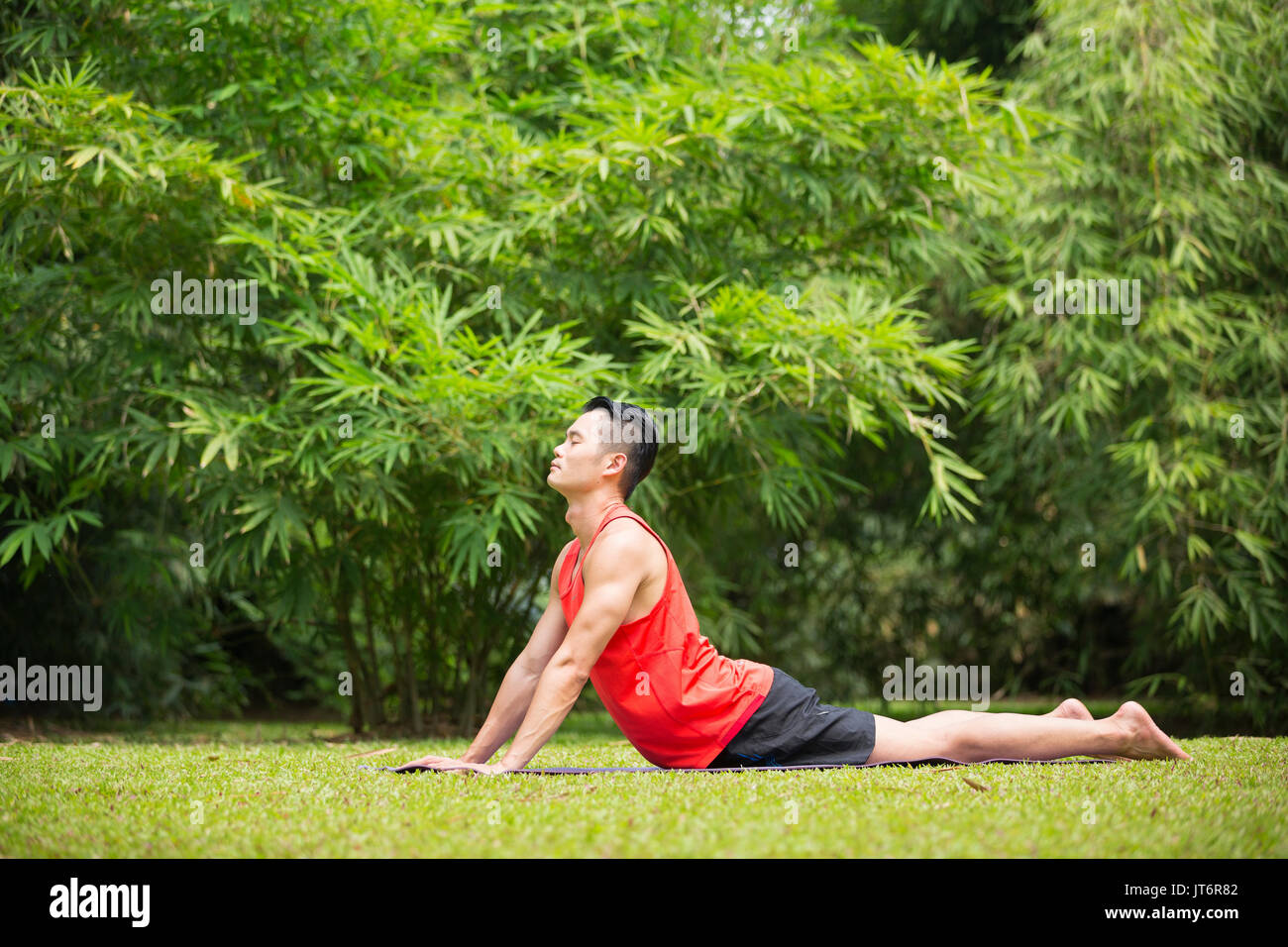 Asian man practicing yoga in a garden. healthy lifestyle and Stock ...