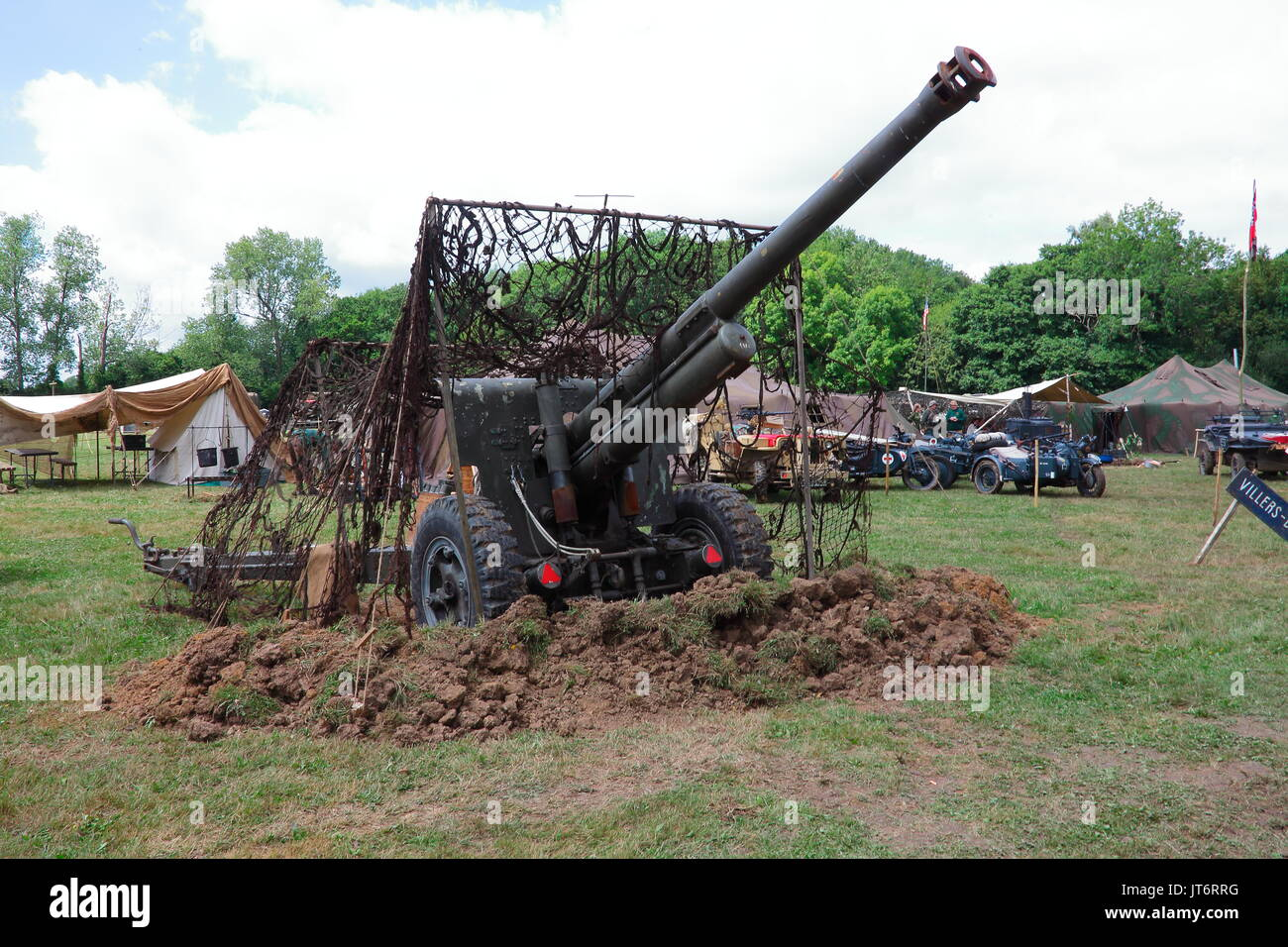 A nicelt restored field gun from foreign parts seen here on display at the War and Peace show held at Beltring in kent. - Stock Image