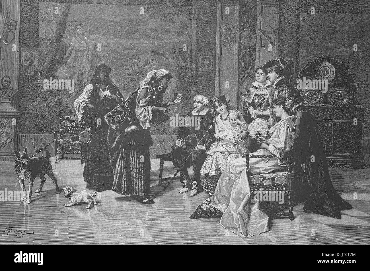 Soothsayer, Gypsy women visits a family, Prophecy by card game, Digital improved reproduction of an image published between 1880 - 1885 - Stock Image