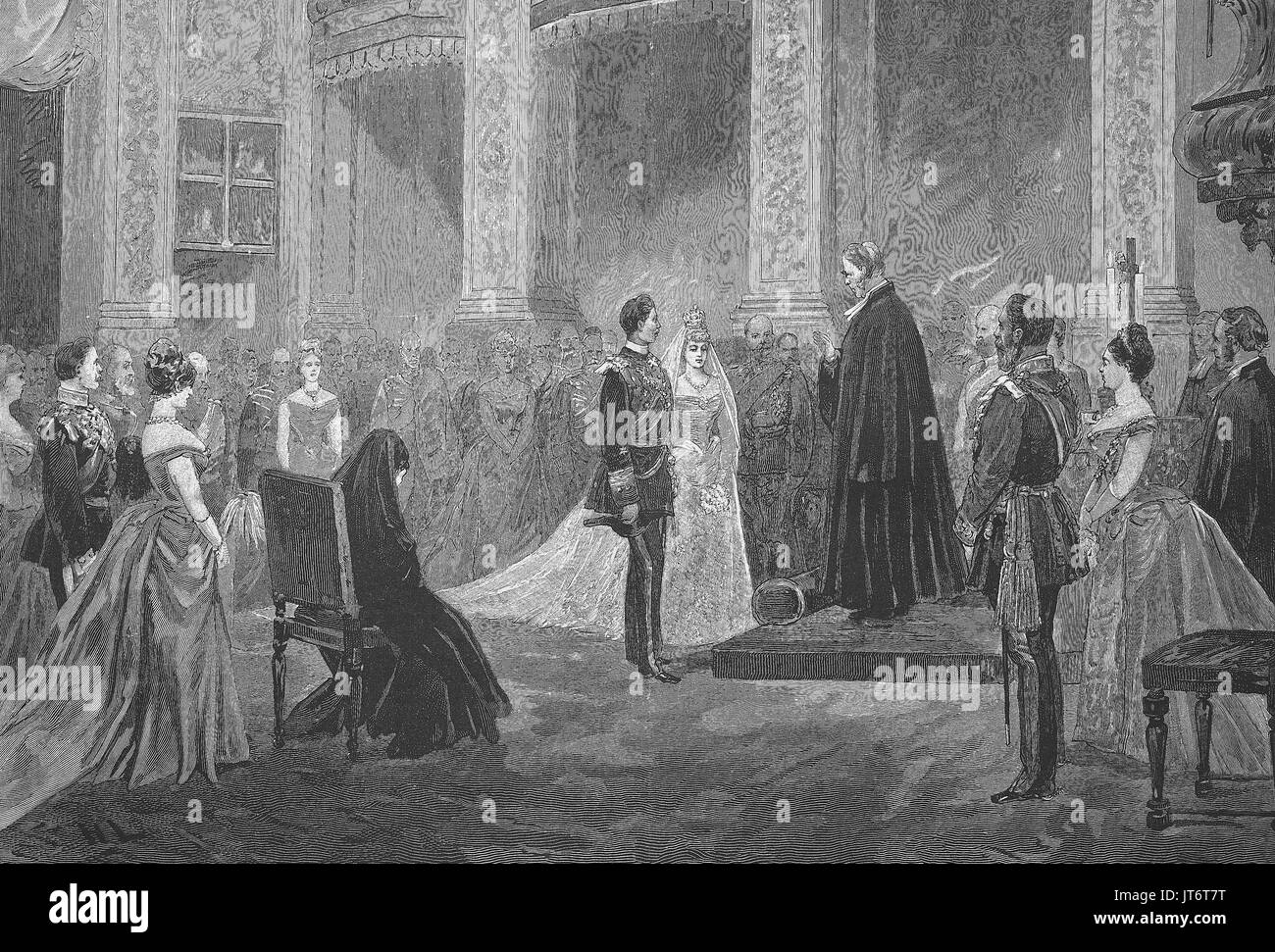 Wedding of Prince Henry of Prussia and Princess Irene of Hesse 1888, in the chapel of palais Charlottenburg, Berlin, Germany, Digital improved reproduction of an image published between 1880 - 1885 Stock Photo