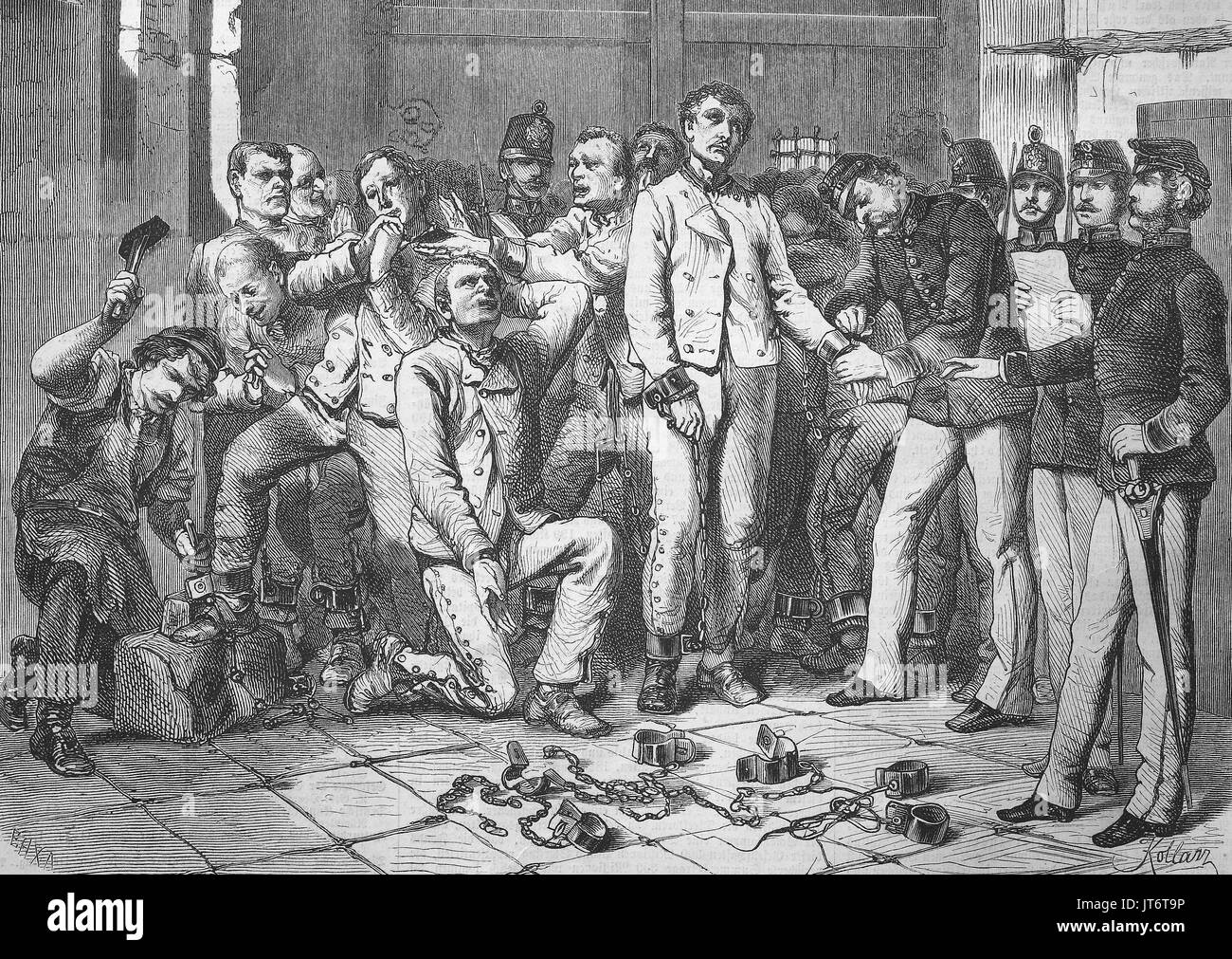 Chain penalty. The liberation from the chain punishment in Austria by Empress Elisabeth of Austria on November 19, 1867. The prisoners are taken from the chains, Digital improved reproduction of an image published between 1880 - 1885 - Stock Image