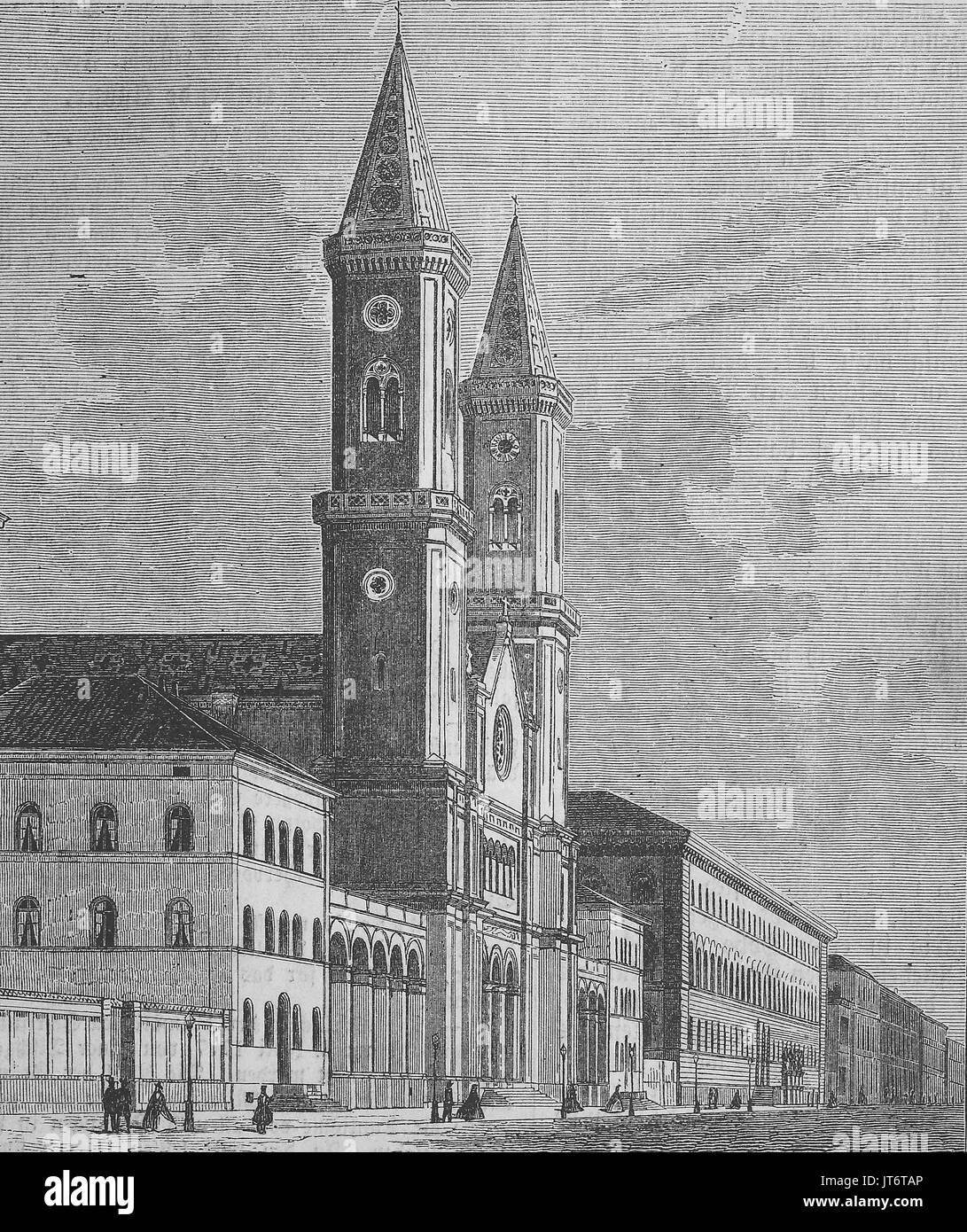 church Ludwigskirche at Munich, Bavaria, Germany, Digital improved reproduction of an image published between 1880 - 1885 - Stock Image