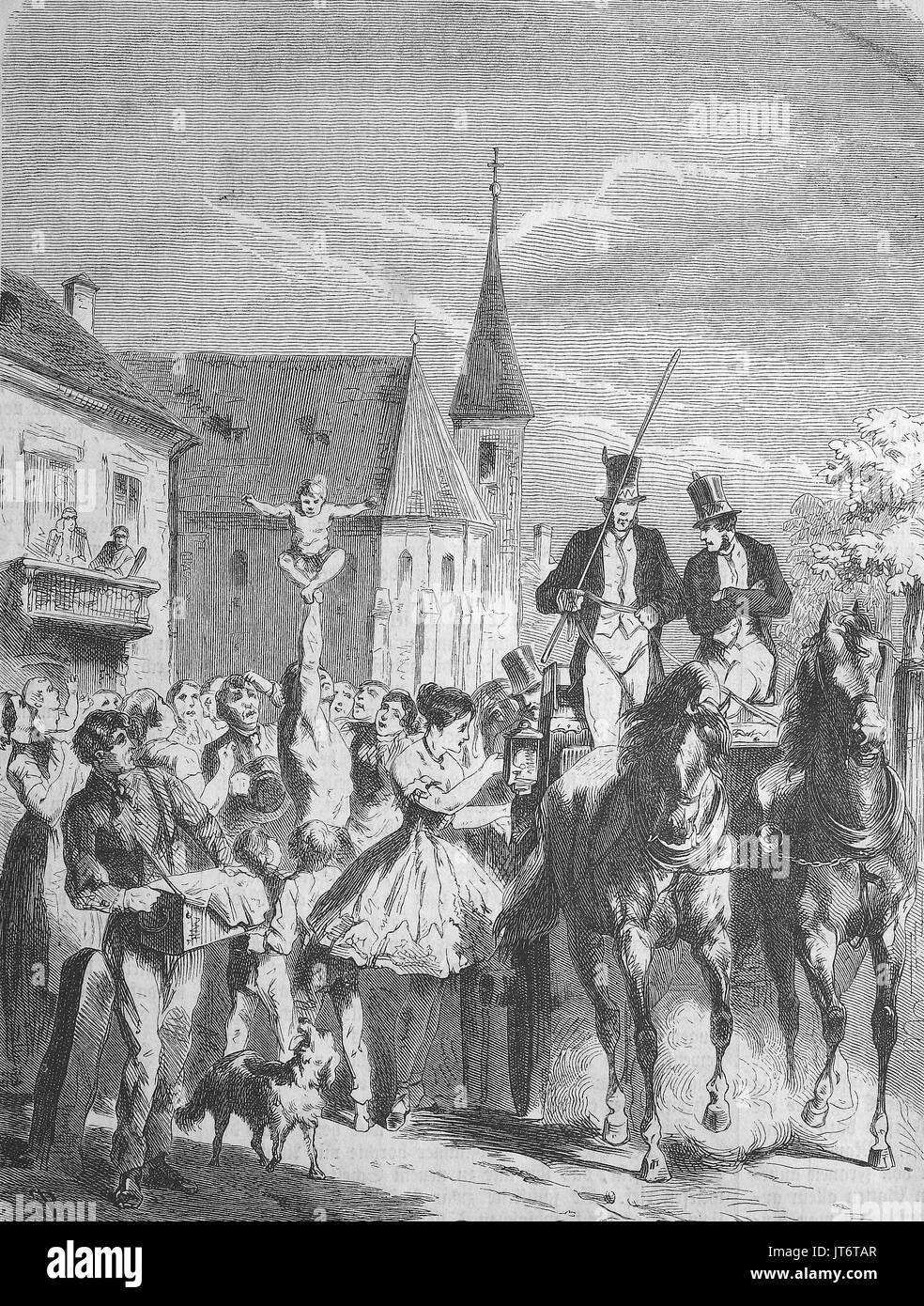 Street scene, a circus arrives in the city, Digital improved reproduction of an image published between 1880 - 1885 - Stock Image