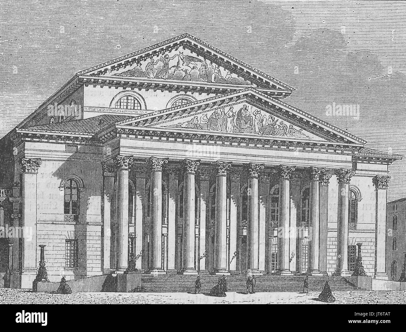 the Hoftheater at Munich, Bavaria, Germany, Digital improved reproduction of an image published between 1880 - 1885 - Stock Image