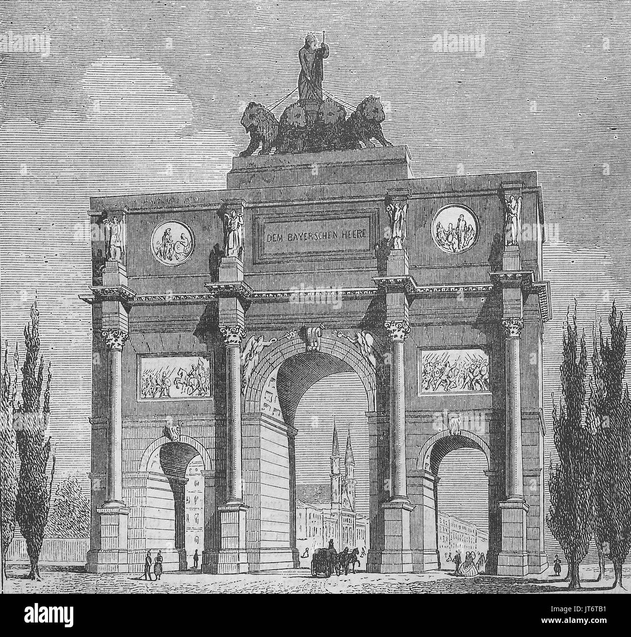 the gate Siegestor at Munich, Bavaria, Germany, Digital improved reproduction of an image published between 1880 - 1885 - Stock Image