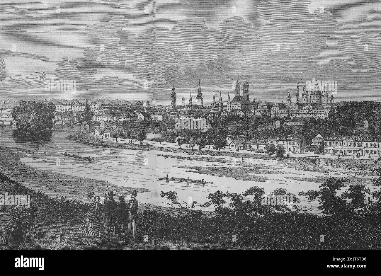 panorama view of Munich, Bavaria, Germany, Digital improved reproduction of an image published between 1880 - 1885 Stock Photo