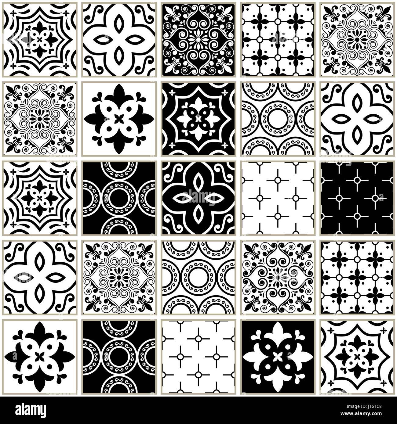 Veector navy blue tiles pattern, Azulejos - Portuguese seamless tile design, monochrome ceramics set - Stock Vector
