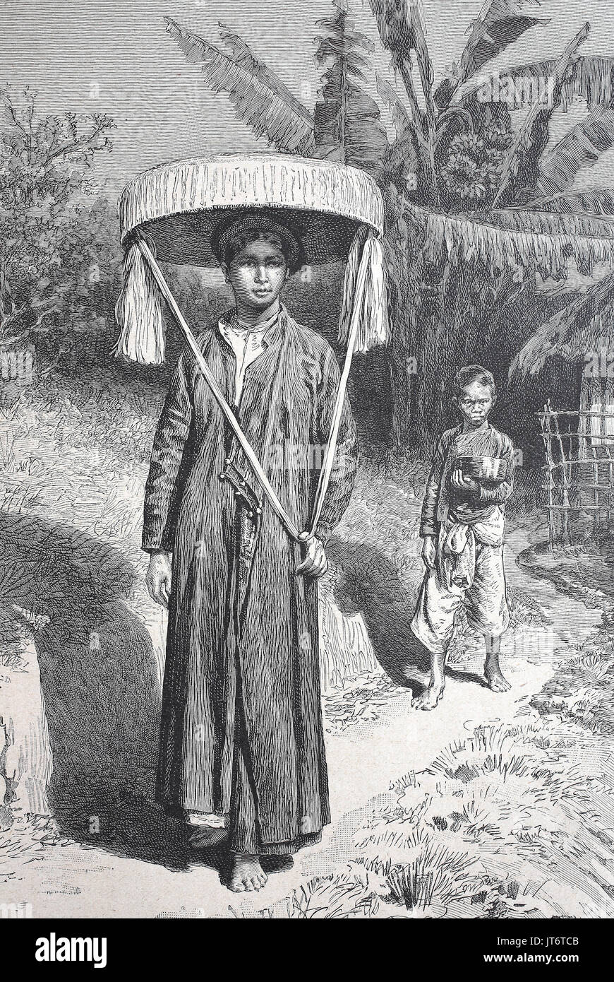 Wealthy woman from thailand, tonkinesin, in street costume and sun protection, Digital improved reproduction of an image published between 1880 - 1885 - Stock Image