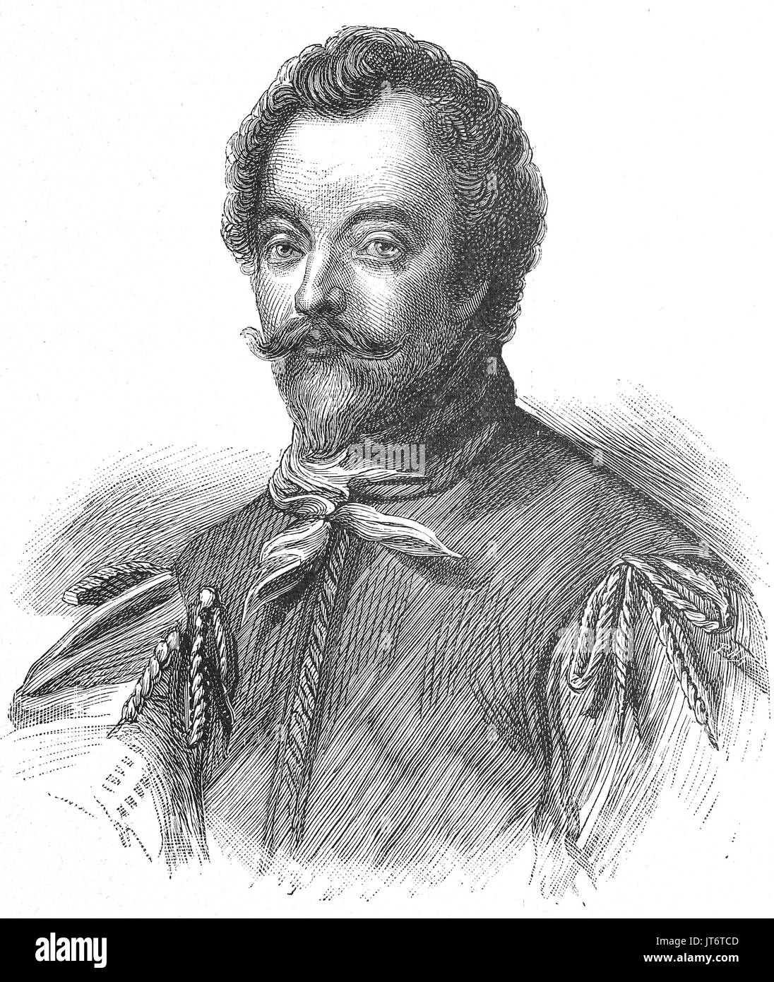 Sir Francis Drake, vice admiral, 1540 - 1596, was an English sea captain, privateer, navigator, slaver and politician of the Elizabethan era, Digital improved reproduction of an image published between 1880 - 1885 - Stock Image