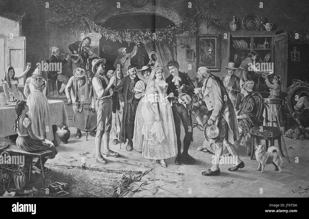 A wedding in Italy in the 18th century, bridal couple in the circle of the family and musicians, Digital improved reproduction of an image published between 1880 - 1885 Stock Photo