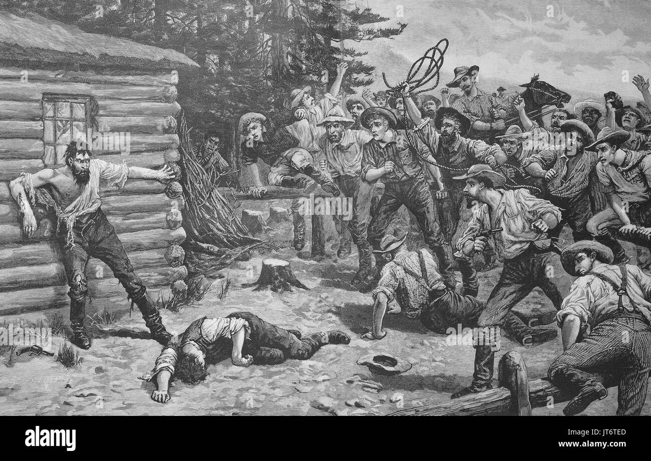 Lynching in the year 1880 in America, Lynching, as a form of punishment for presumed criminal offenses, performed by self-appointed commissions, mobs, or vigilantes without due process of law took place in the United States before the American Civil War, Digital improved reproduction of an image published between 1880 - 1885 - Stock Image