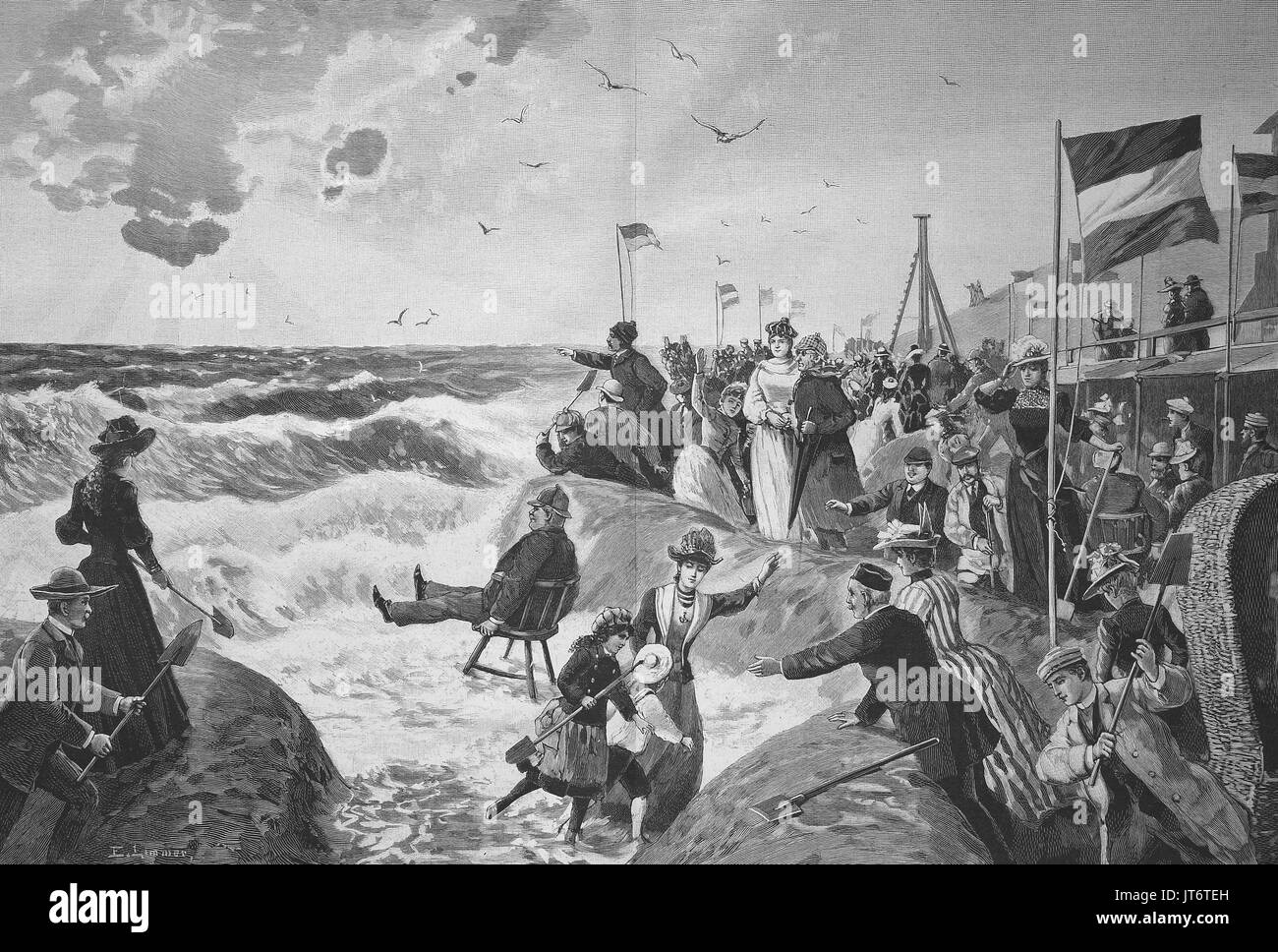 Summer vacationers on the beach of Westerland on Sylt, Germany, high waves, Digital improved reproduction of an image published between 1880 - 1885 - Stock Image