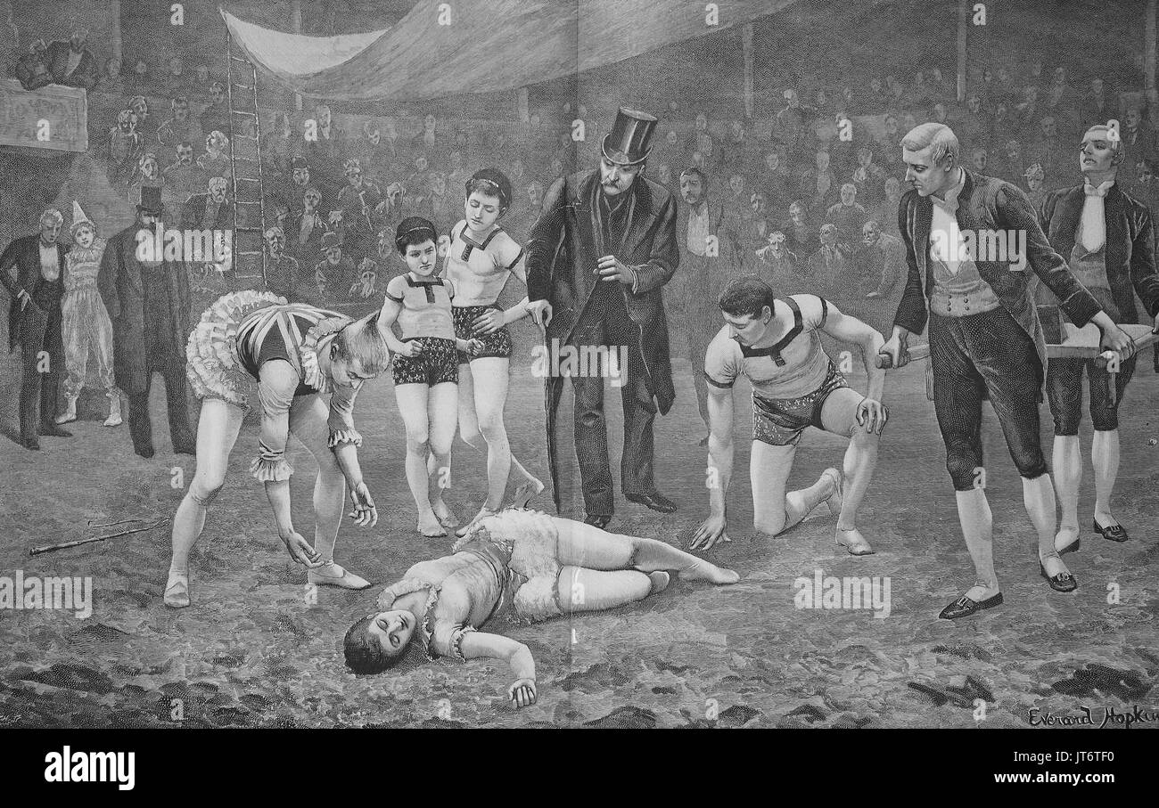A circus tragedy, An artist has crashed and lies injured on the ground, Digital improved reproduction of an image published between 1880 - 1885 - Stock Image