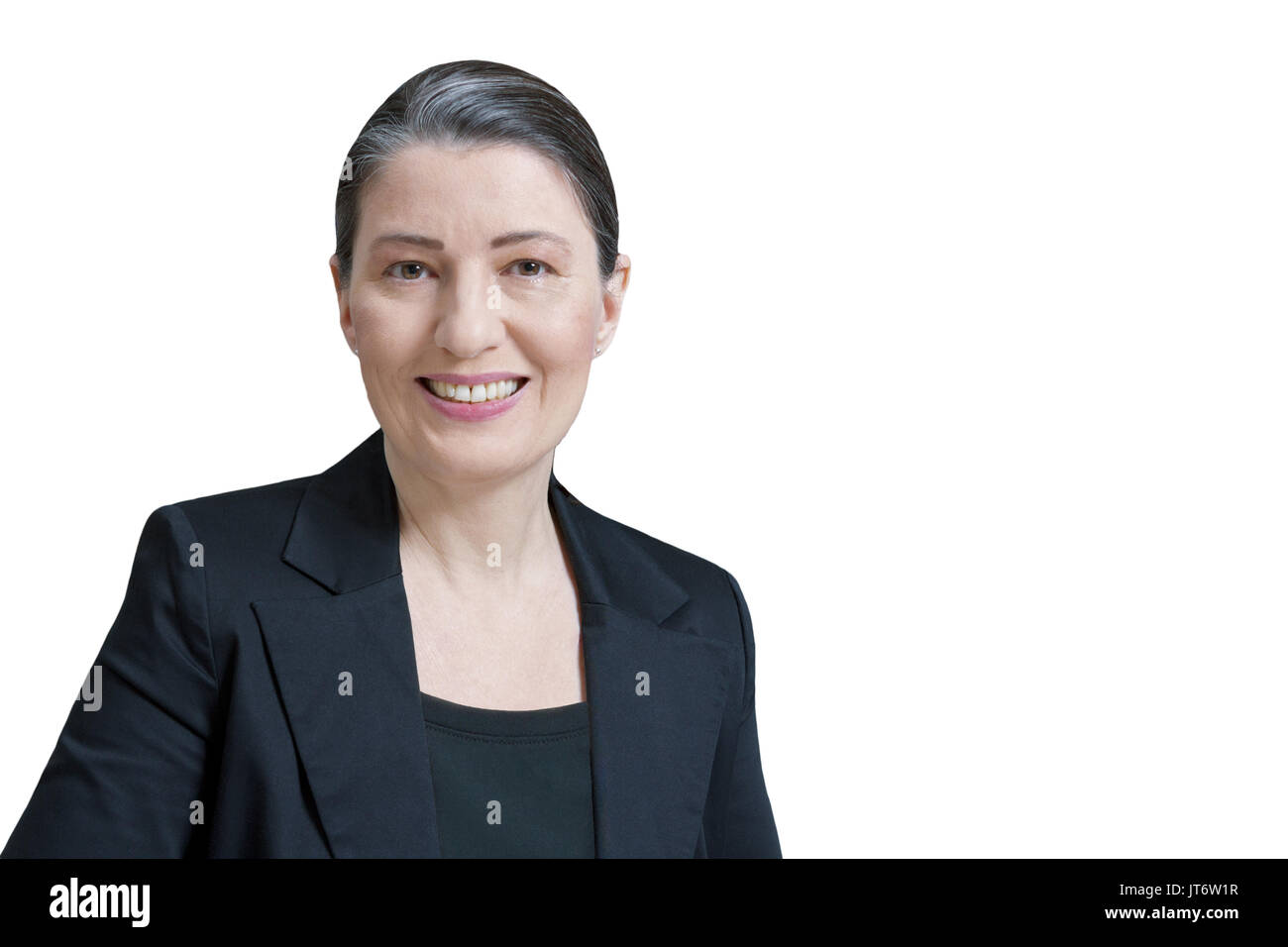 Friendly smiling middle aged woman in a black blazer isolated on white background, professor, teacher, translator, Stock Photo