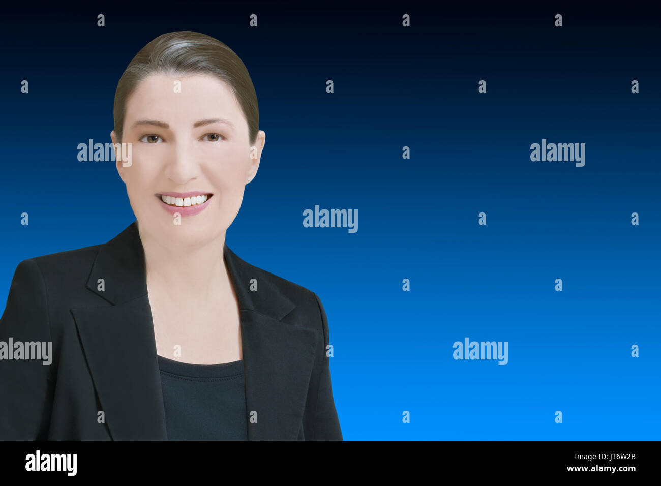 Female robo-advisor or chat bot concept template, friendly smiling computer generated woman in front of blue backdrop, Stock Photo