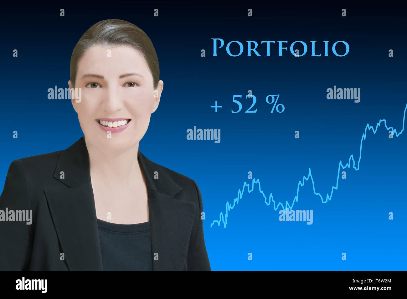 Female robo-advisor, friendly smiling artificial woman in front of blue backdrop with an upward rising chart, showing Stock Photo