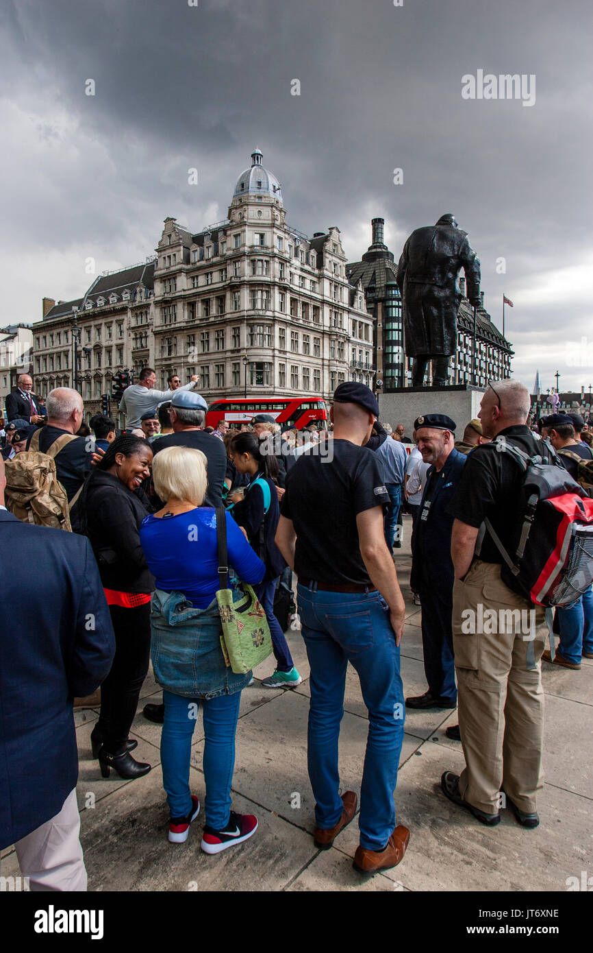 British Army Veterans Gather In Parliament Square Before A March Against Terror, London, UK - Stock Image
