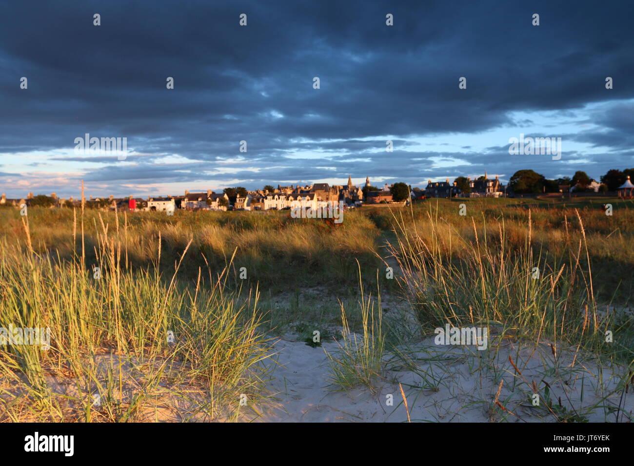 Nairn seen from beach in stunning light - Stock Image