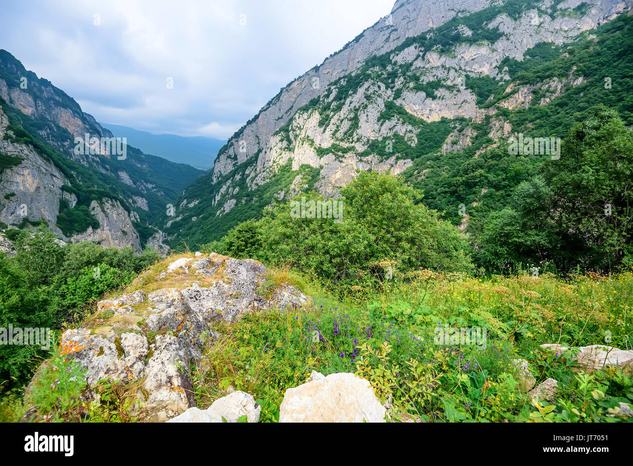 Mountain landscape in North Ossetia - Stock Image