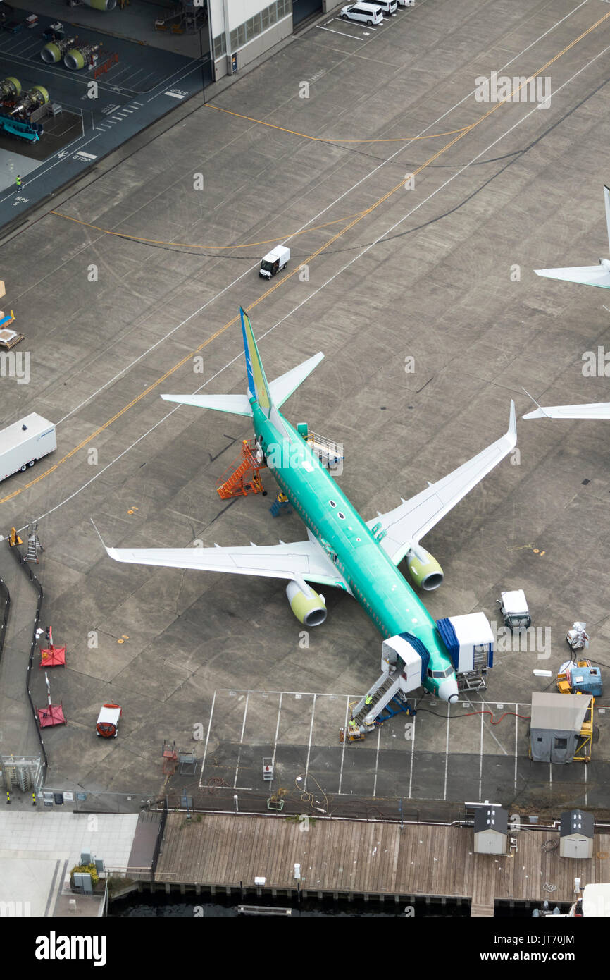 Aerial view of Boeing 737 airplanes under construction at Renton factory, Washington State, USA - Stock Image