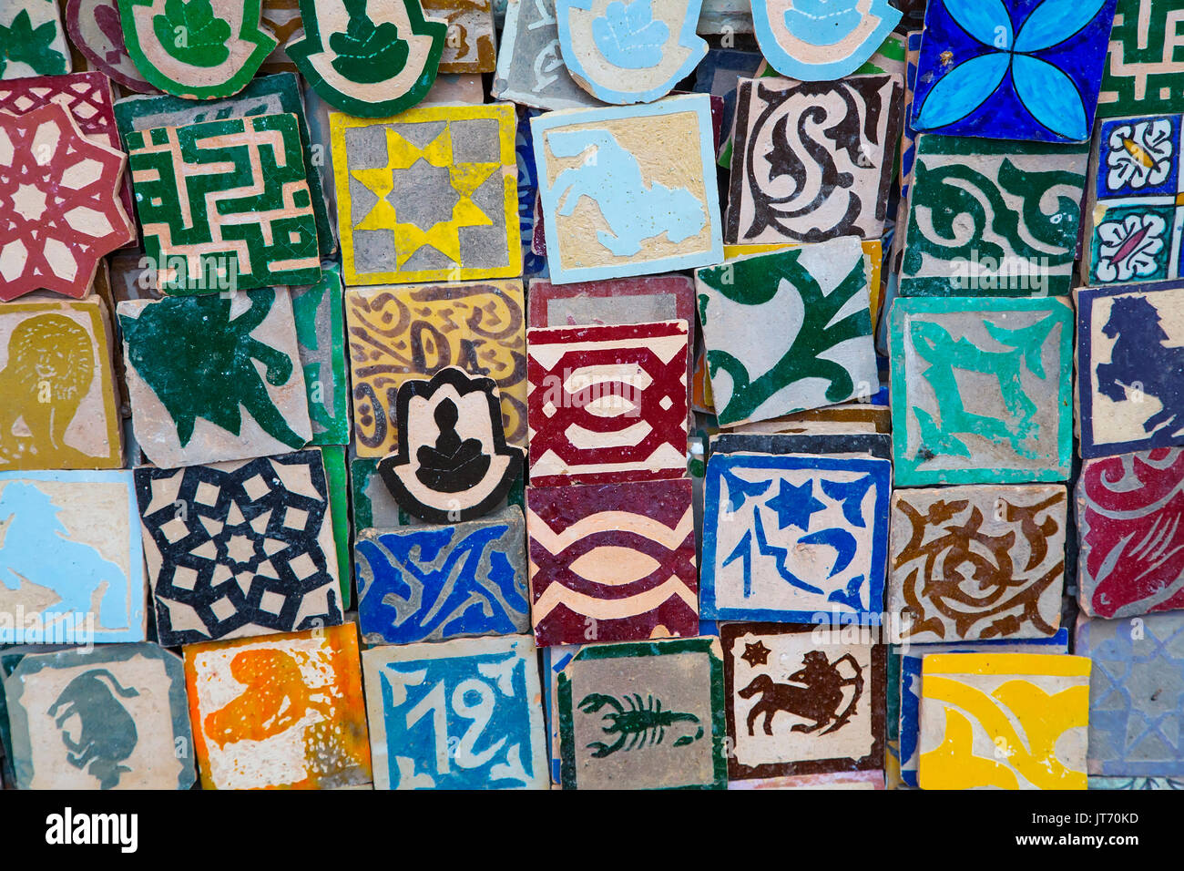 Ceramic and craft shop, Souk Medina of Fez, Fes el Bali. Morocco, Maghreb North Africa - Stock Image