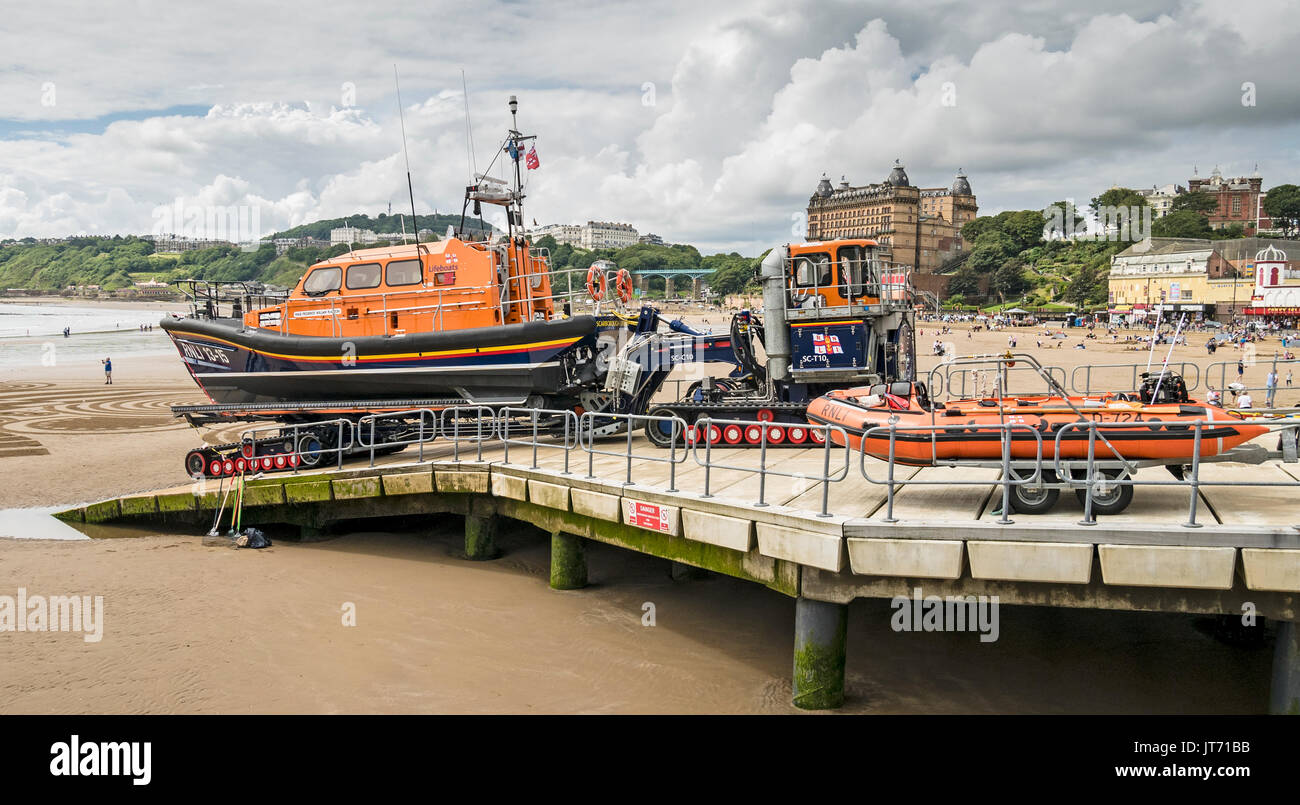Shannon Class Lifeboat 13-15 with the Supercat Tractor and Carriage on Slipway at Scarborough Yorkshire UK - Stock Image