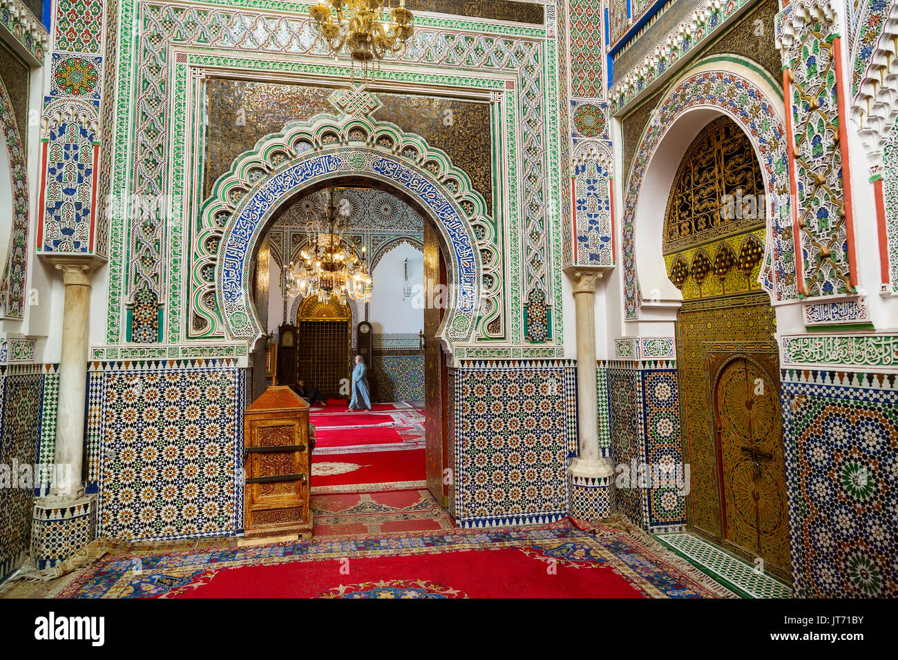 Moulay Idriss II Mosque. Souk Medina of Fez, Fes el Bali. Morocco, Maghreb North Africa - Stock Image